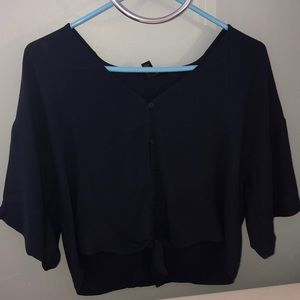 Navy Front-tie Blouse